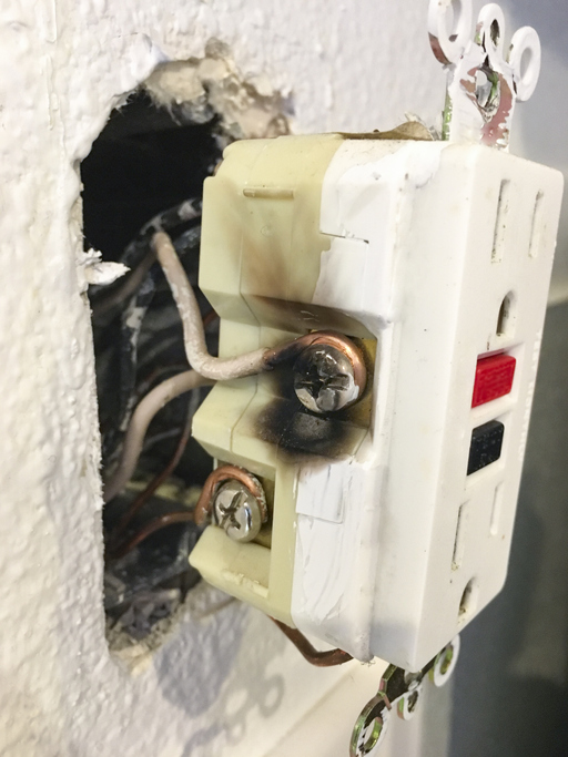 damaged electrical outlet